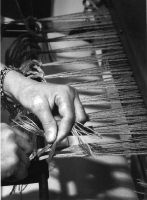 Knotting the warp to the apron rod