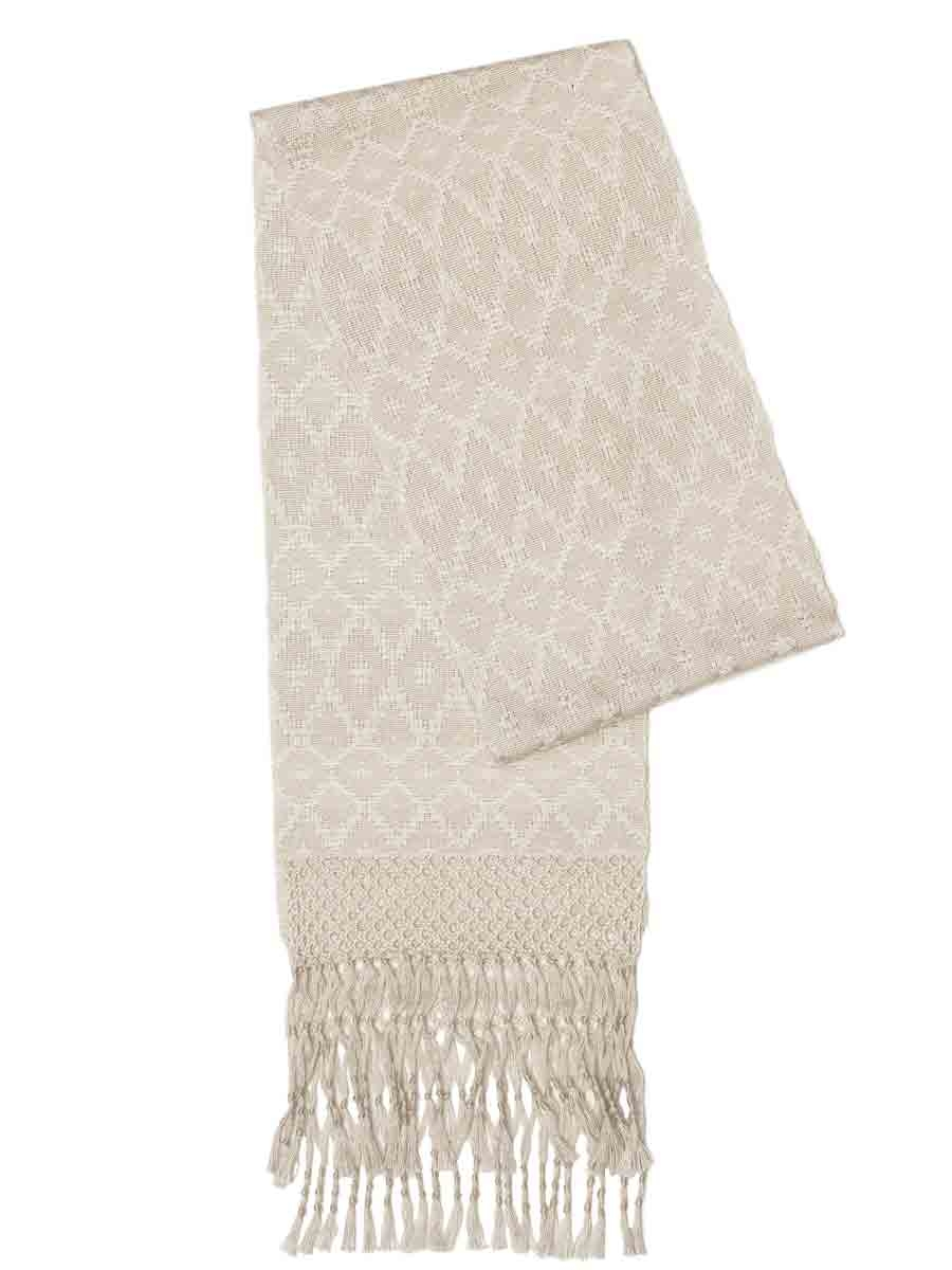 White silk scarf with fancy fringe